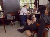 Brunette gets huge dick in public pub
