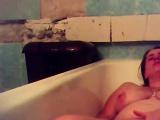 Orgasm of my mom in bath tube. Hidden cam