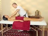 Gorgeous massage babe cocksucking masseur