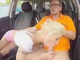 Busty lady Barbie Sins fucked in the car