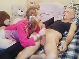 Little Teen wakes up her Daddy with a good blowjob