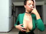 Zuzana with huge boobs stripping in black lingerie