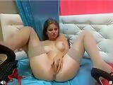 Wet girl LuizaSky fucking herself with a big dildo