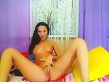 Cute brunette having fun with a vibrator Kamilla