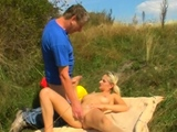 Sexy blonde Christy with huge natural tits fucks well